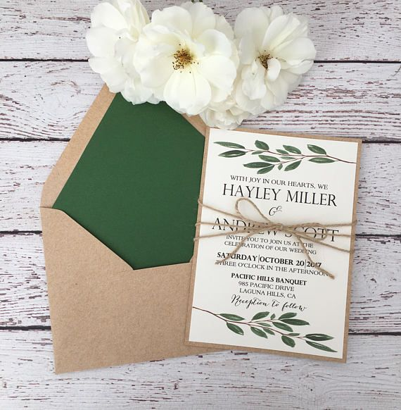 52 best wedding invitations images on pinterest return address greenery wedding invitation rustic greenery invitation stopboris Images