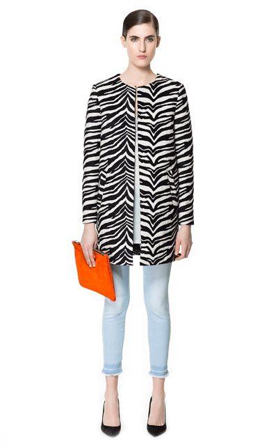 Image 1 of ZEBRA PATTERN JACQUARD COAT from Zara