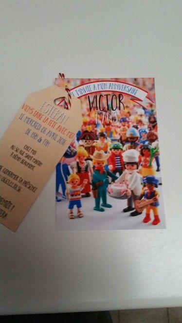 Invitation anniversaire playmobil