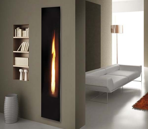 Linear fireplace the unexpected vertical way