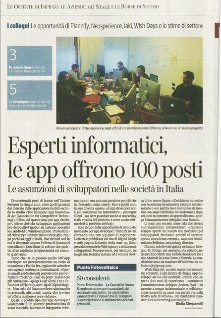 #Lavoro: su Corriere della Sera di venerdì, si è parlato della professione di #app developer ed è stato intervistato Luca Bianchi, CTO di Neosperience.  All'interno, potete anche vedere i nostri sviluppatori all'opera. Buona lettura!