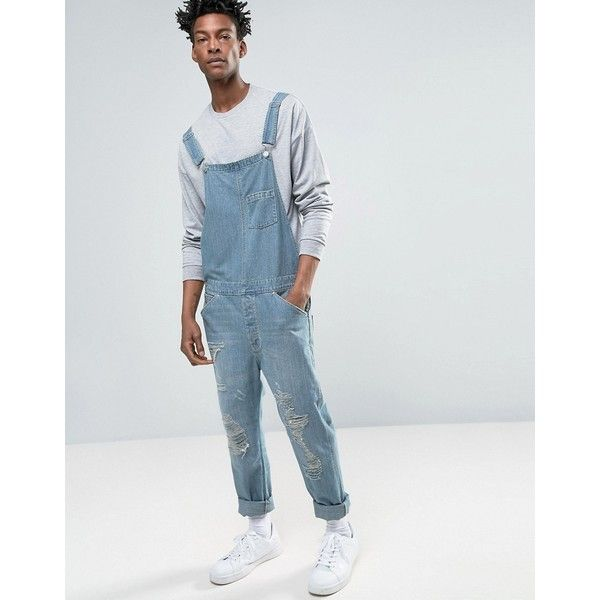 ASOS Denim Dungarees In Vintage Light Blue With Rips ($76) ❤ liked on Polyvore featuring men's fashion, men's clothing, men's jeans, blue, mens light blue skinny jeans, mens button fly jeans, mens ripped denim jeans, mens blue ripped jeans and mens distressed denim jeans