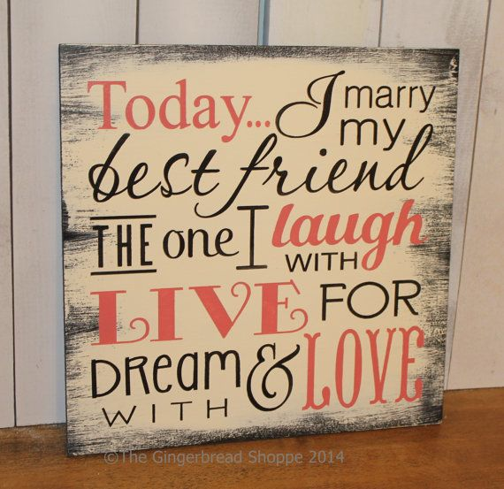 Today I Marry My Best Friend Sign/Wedding Sign/Subway Style/Reception Sign/Romantic Sign/U Choose Colors/Coral on Etsy, $29.95