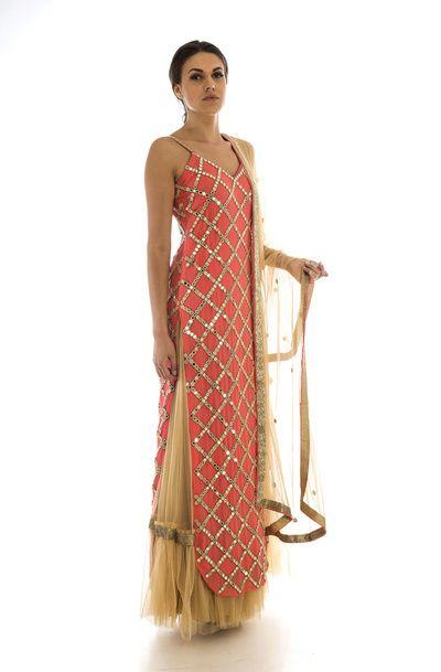 Trousseau Essentials - Long Kurta with Net Skirt | WedMeGood | Coral Kurta with Gota Zig Zag Work and Net Beige Skirt and Net Beige Dupatta #wedmegood #indianbride #indianwedding #coral #gota #kurta #beige #suit #indiansuit #trousseau