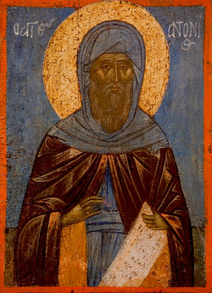 Detailed view: Z103. Saint Anthony the Great- exhibited at the Temple Gallery, specialists in Russian icons