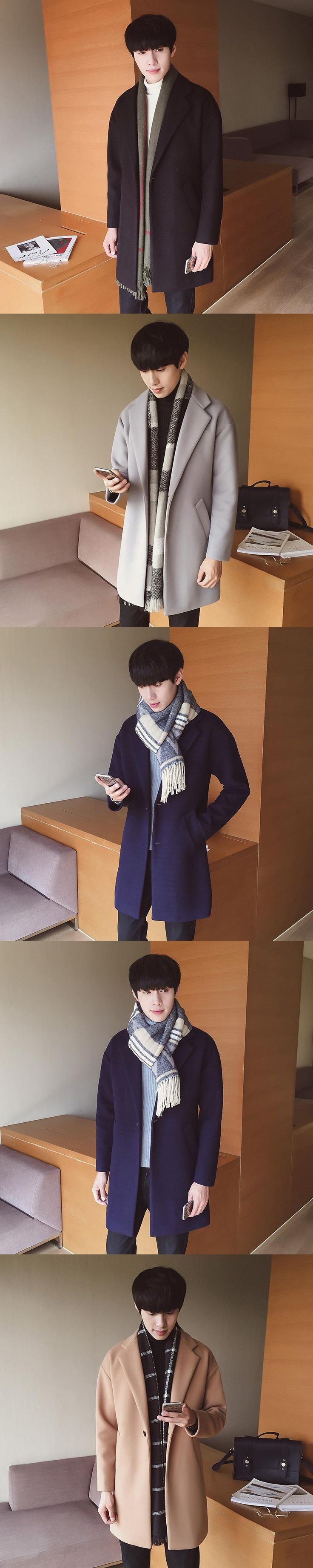 2017 New Men's Winter In Korean Men's Long Coat Woolen Coat Thick Male