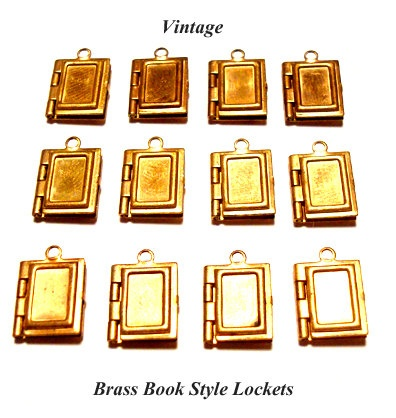 12- Vintage Brass Mini Book Style Locket Charms-g1381. $5.99, via Etsy.