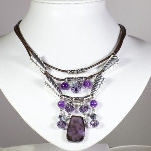 Leather necklace with purple Swarovski crystals and semi precious stones