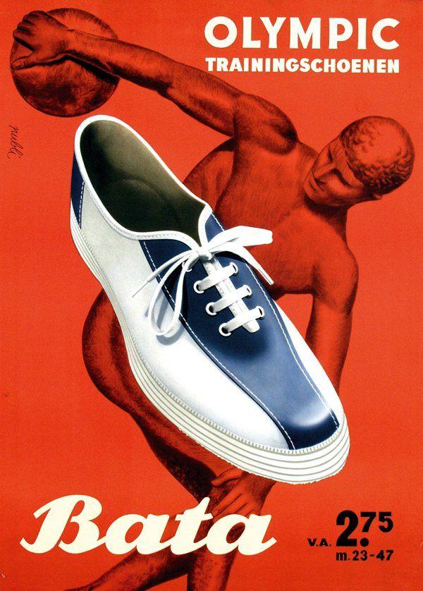 """Bata Olympic Trainingschoenen"" (Bata Olympic training shoes), Netherlands, ca. 1950 #batashoes #bata120years #advertising"