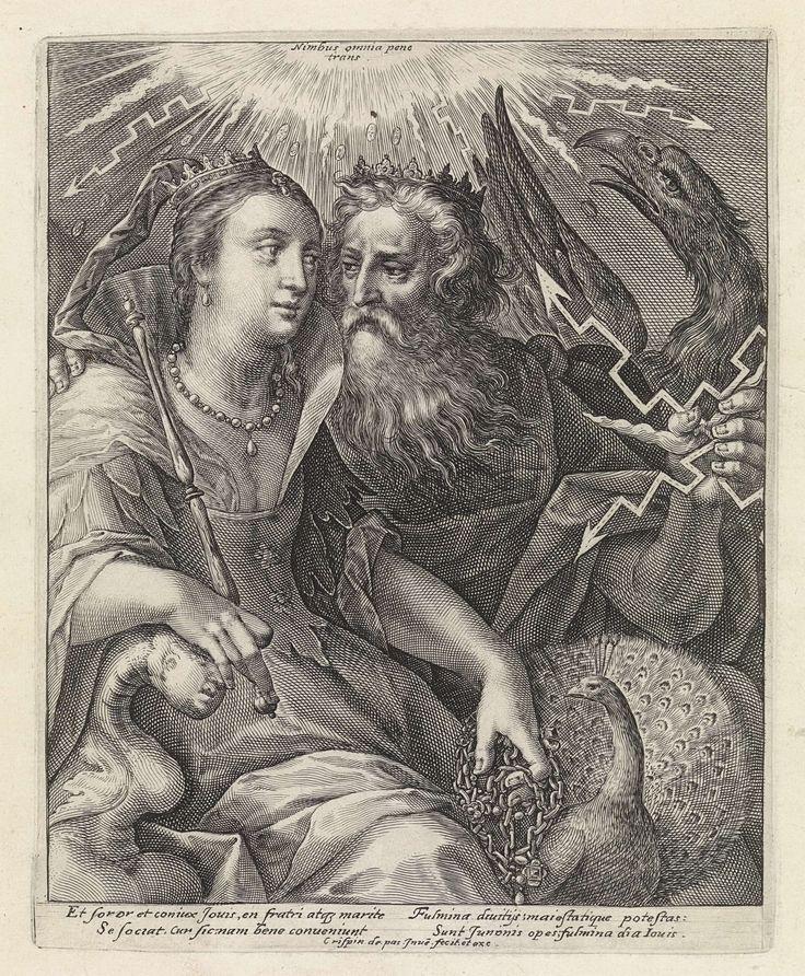 Crispijn van de Passe (I) | Jupiter en Juno, Crispijn van de Passe (I), 1589 - 1611 | Jupiter en Juno als geliefden. Jupiter draagt een kroon en werpt een bliksemschicht. Hij wordt vergezeld door zijn symbool de adelaar. Juno draagt een kroon en houdt een scepter in de hand. Ze wordt vergezeld door haar symbool de pauw. In de marge een vierregelig onderschrift, in twee kolommen, in het Latijn, dat verwijst naar de liefde tussen Jupiter en Juno. Prent uit een serie met Goden en Godinnen als…