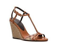 Burberry House Check Leather Wedge Sandal