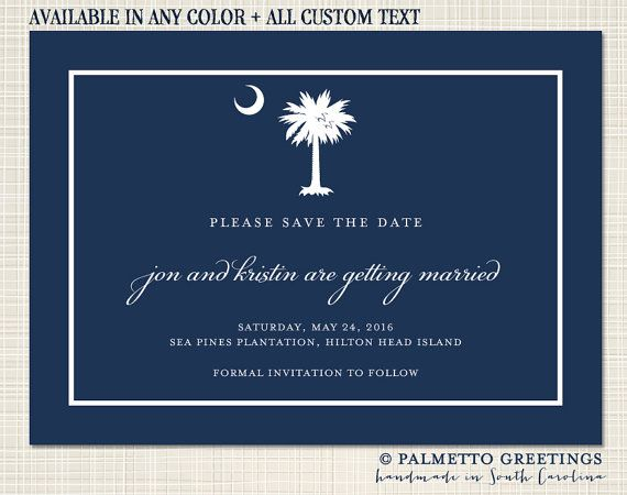 PRINTABLE - Custom South Carolina Palmetto Moon Wedding Engagement / Save the Date Card by Palmetto Greetings
