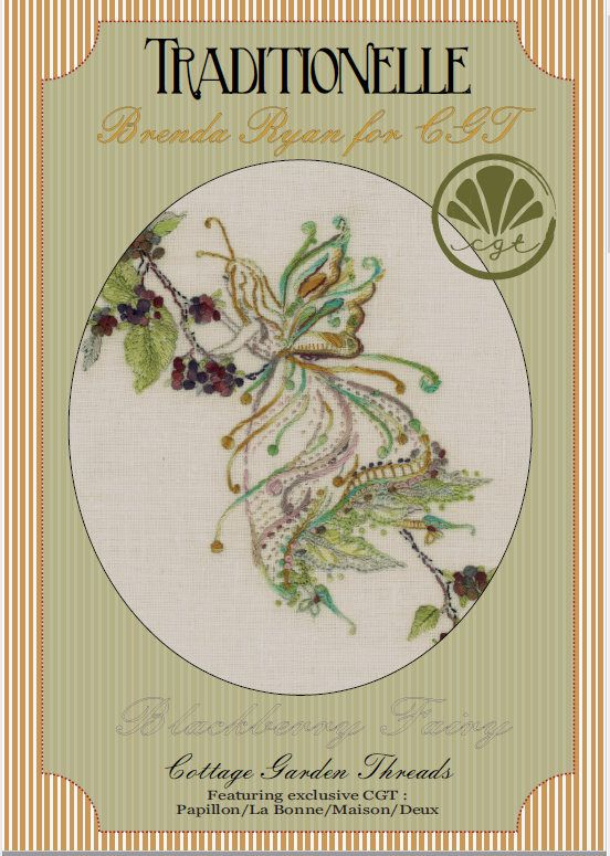 Fairy Embroidery pattern with free shipping when you Pre-Order Blackberry Fairy embroidery kit, Cottage Garden Threads, Brenda Ryan