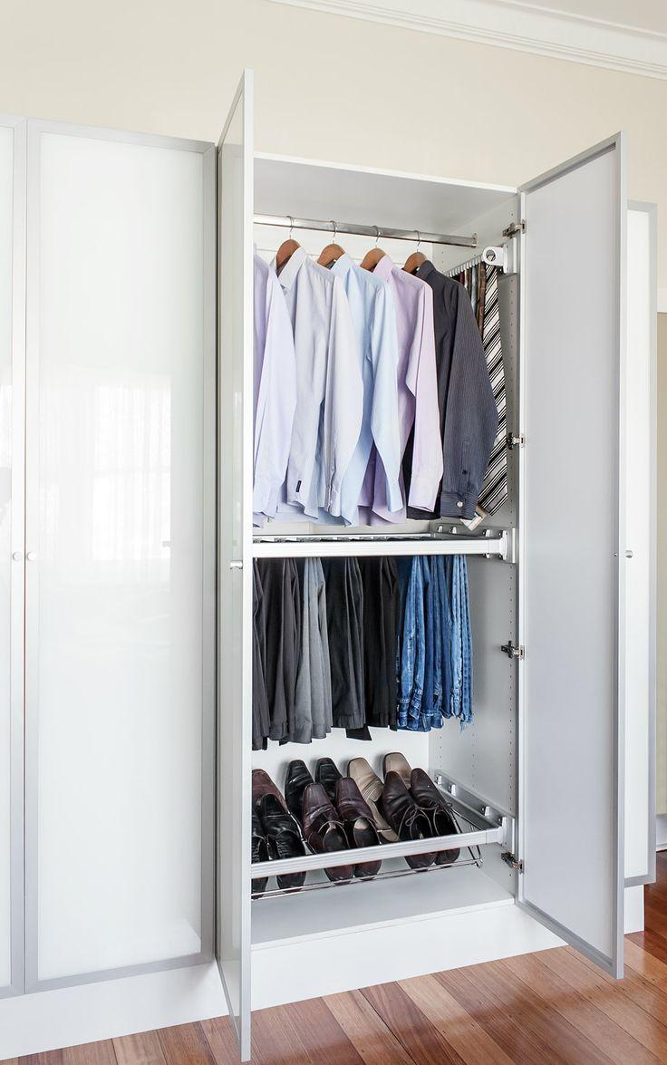 Frosted glass hinge doors, white wardrobe cabinet and a bunch of accessories to keep things organised! #wardrobeinterior #flatpackwardrobe #wardrobeshelves #wardrobedrawers #whitewardrobe