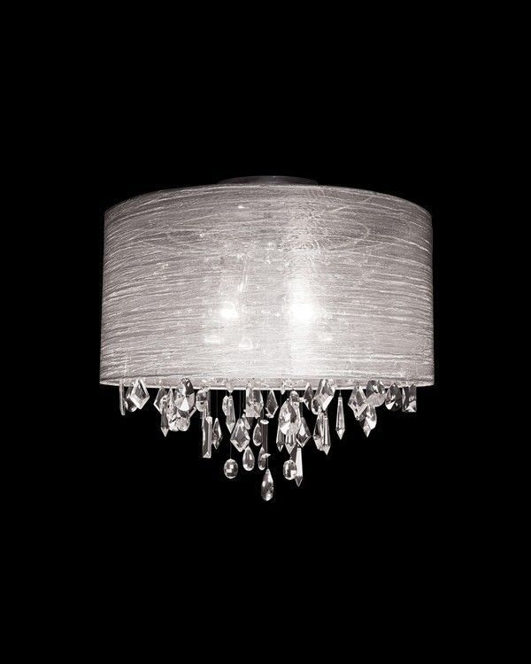 crystal pendant chandelier ceiling flush mount light with white silk