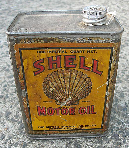 Shell Motor Oil vintage garage tin from Old Sydney Signs - #vintage #design #packaging