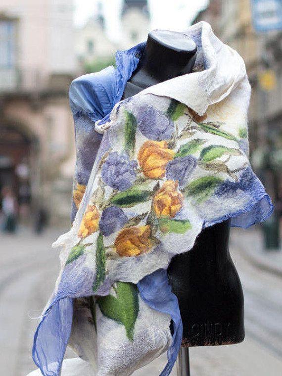 Felted purple scarf felted silk scarves nunofelted scarf