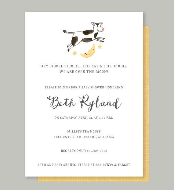 Nursery Rhyme Baby Shower Invitation - Cow Jumped Over the Moon Baby Shower Invite, Watercolor Nursery Rhyme Invitation by Leveret Paperie