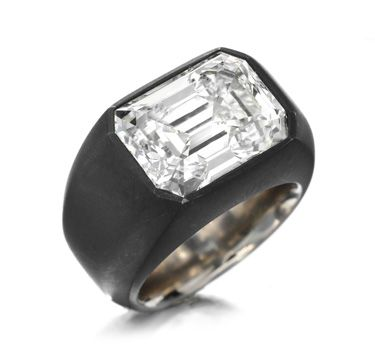 A Rectangular-Cut Diamond and Iron Ring by Hemmerle. Via FD Gallery, www.fd-inspired.com