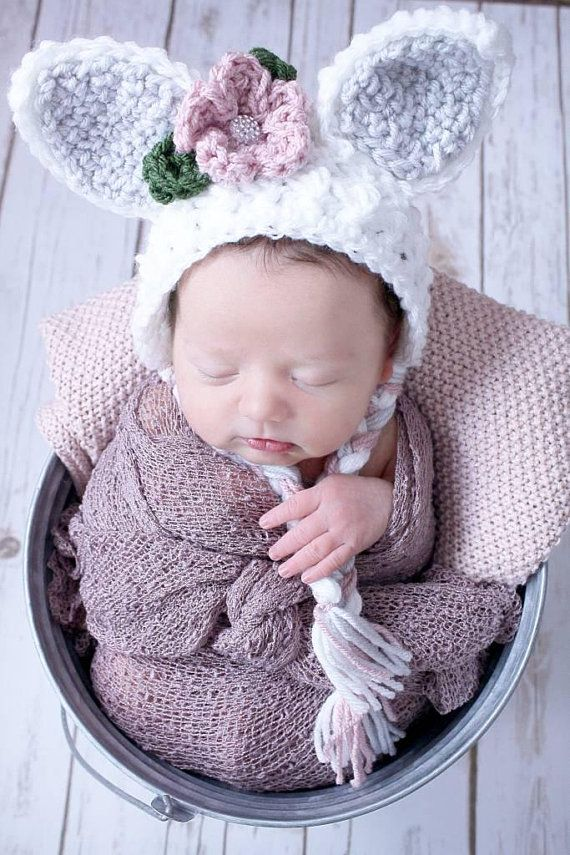 35745ea0474 Girl Bunny Hat - Bunny Hat - Girl Easter Hat - Bunny Bonnet - Easter Bonnet  - Baby Bunny Hat - Easter Prop - Newborn Easter Hat - Crochet