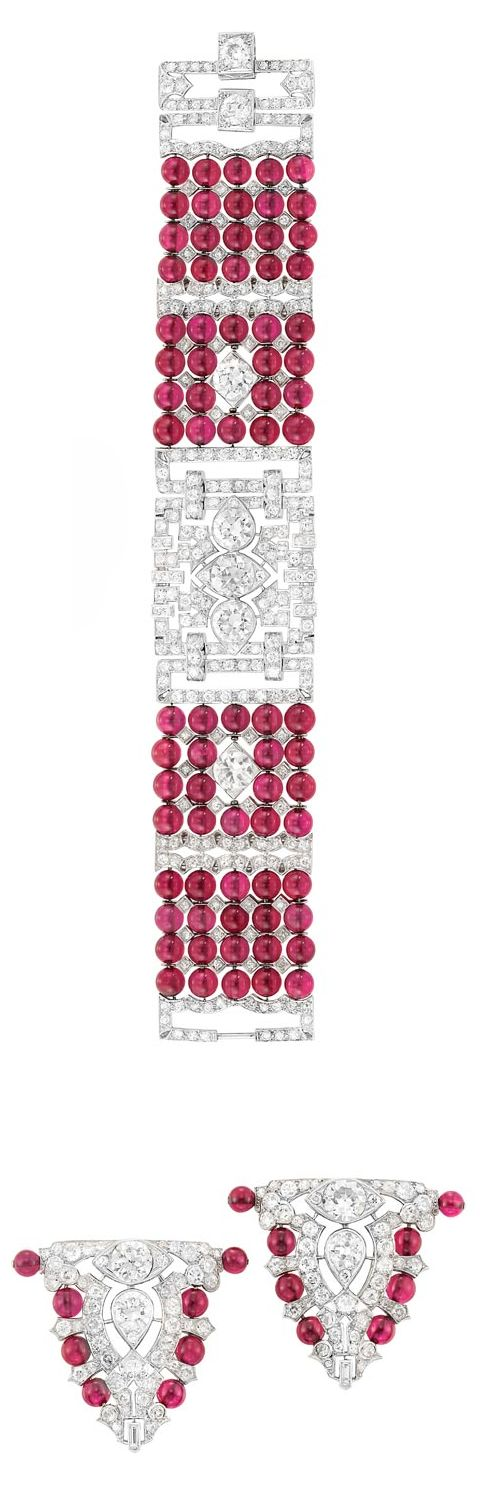 Art Deco Five Strand Platinum, Diamond and Synthetic Ruby Bead Bracelet and Pair of Clip-Brooches  The five strand synthetic ruby bead bracelet of geometric motif and pair of shield-shaped clip-brooches centering 11 old European-cut diamonds approximately 9.40 cts., set throughout with 404 old-mine, old European and single-cut and 2 baguette diamonds approximately 9.65 cts., the clips tipped with synthetic ruby beads, circa 1925