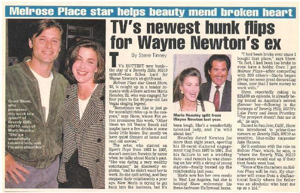 Show, Grant / TV's Newest Hunk Flips for Wayne Newton's Ex | Magazine Article with 2 Photos | 1992