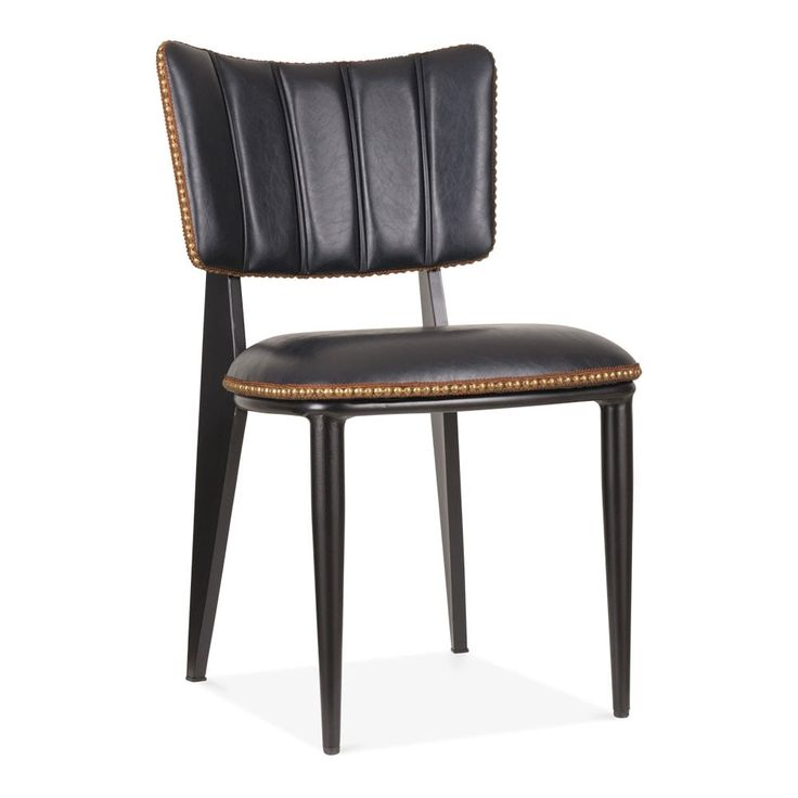 Black Faux Leather Ottie Dining Chair   Retro Dining Chairs