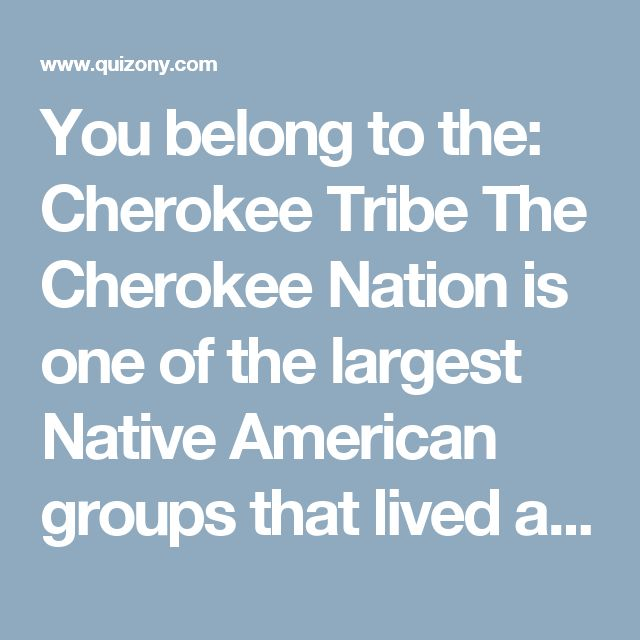You belong to the:  Cherokee Tribe  The Cherokee Nation is one of the largest Native American groups that lived and live in sections of the Southeastern USA. The Cherokee people were characterized by their strong traditions and integrity. Their culture can be summed up using a single word: Duyukdv, which refers to the tenuous balance between one's own personal rights and doing what's right for the group. In other words, Cherokee tribe members valued personal freedom for the individual…