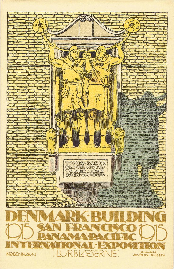 A beautiful poster-style postcard of the Danish Pavilion at the Panama Pacific International Exposition held in San Francisco, Ca. in 1915. This is one of a series of 5 cards that were produced.