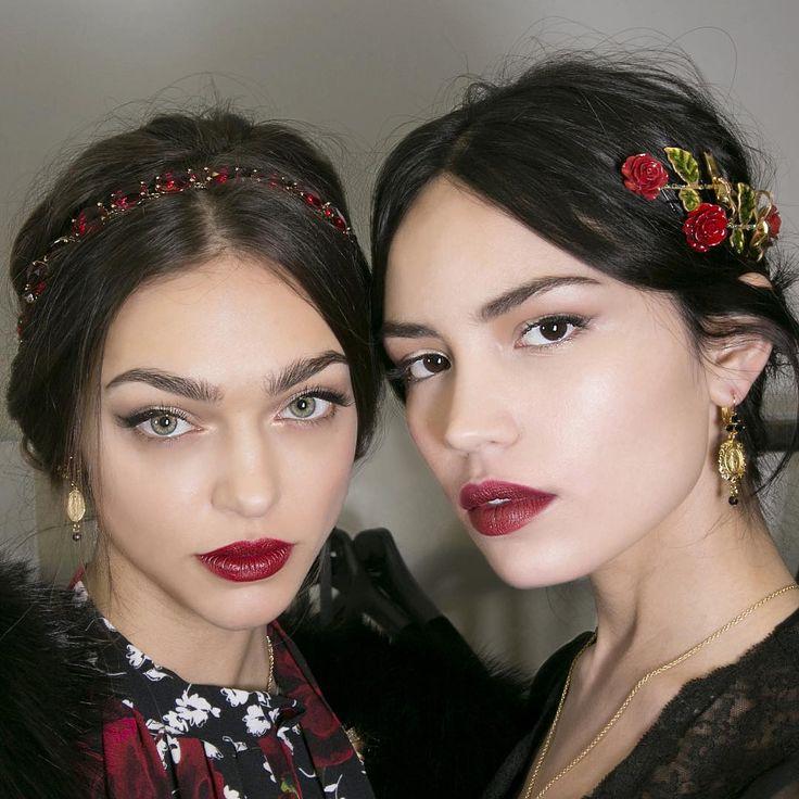 "runwayandbeauty: "" Zhenya Katava and Irina Sharipova - Backstage at Dolce & Gabbana Fall/Winter 2015. Credits: Harper's Bazaar Instagram """