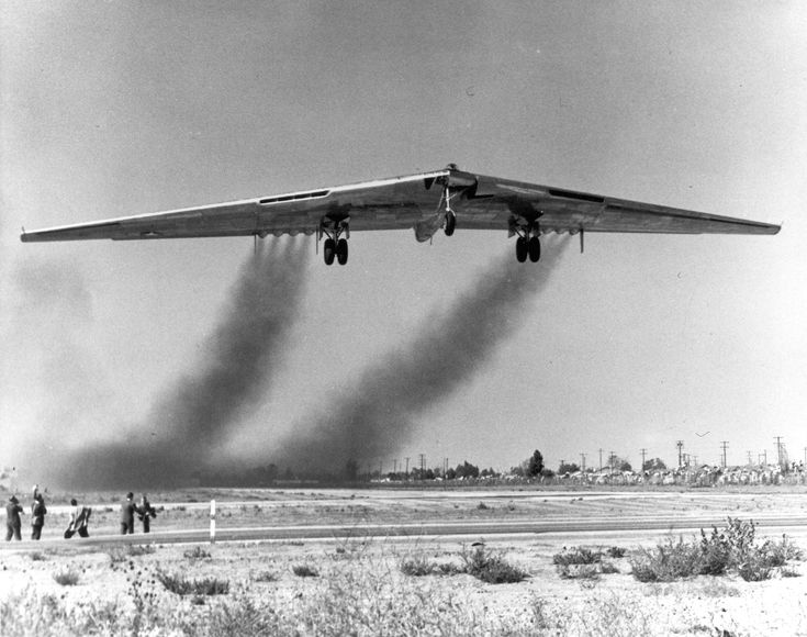 Northrop YB-49 42-102-102367 crosses the east field boundary on takeoff from Northrop Field, Hawthorne, California, 21 October 1947. (U.S. Air Force) October 1947: At Northrop Field, Hawthorne, California, Northrop Corporation Chief Test Pilot Max R. Stanley took off in the first YB-49, 42-102367, and flew it to Muroc Air Force Base (now, Edwards Air Force Base) for flight testing.