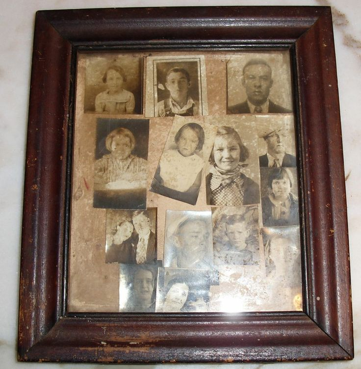 Vtg Lot of 14 Photographs in Old Wood Frame - Prim Folk Altered Art Source  #Collectible