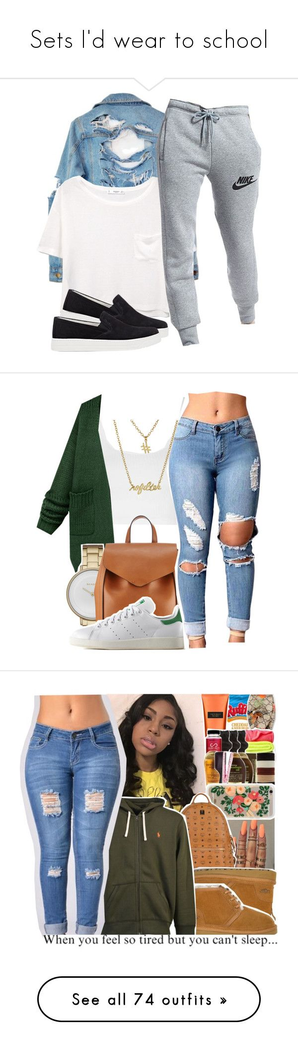 """Sets I'd wear to school"" by leah143love ❤ liked on Polyvore featuring High Heels Suicide, MANGO, NIKE, Prada Sport, Topshop, Skagen, Loeffler Randall, adidas Originals, Gorjana and Victoria's Secret"