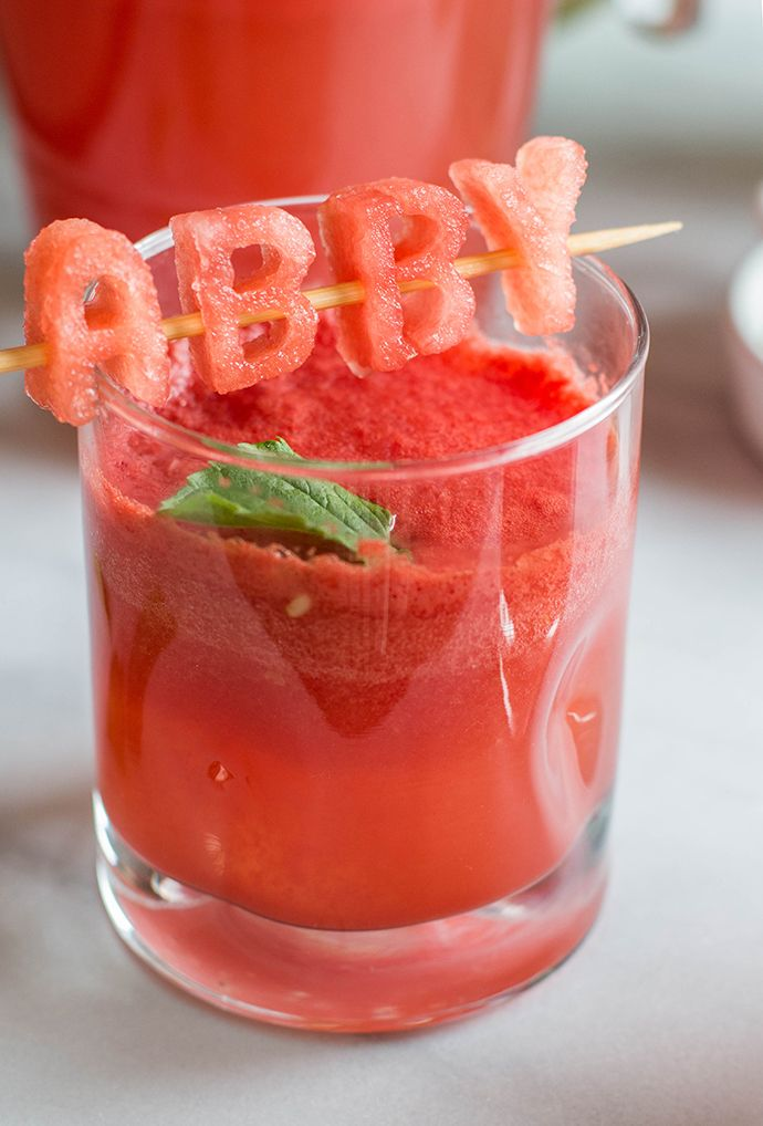 Watermelon summer drink with edible cocktail topper!