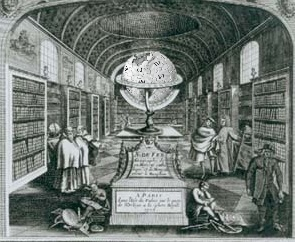 Photomontage of the Wikipedia logo and and an engraving Nicolas de Fer (1646-1720), graveur-géographe lorrain