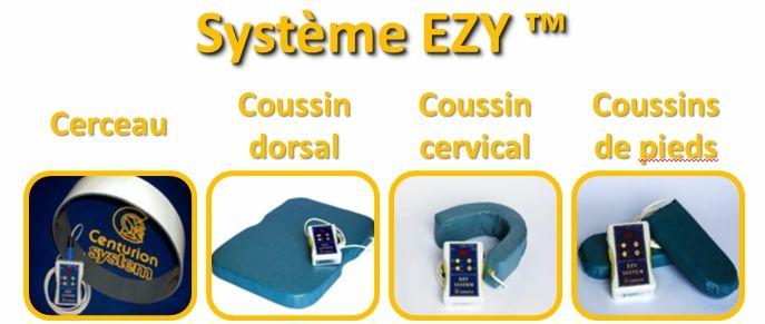 Appareil à champ magnétique pulsé (CMP) - Le système EZY de Centurion: Cerceau, coussin dorsal, coussin cervical, coussin de pieds