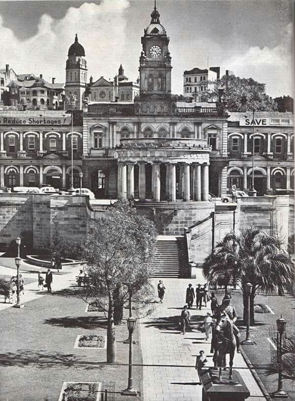 ANZAC Square,the War Memorial and Central Railway Station in Brisbane, in 1950. Photo by Frank Hurley.