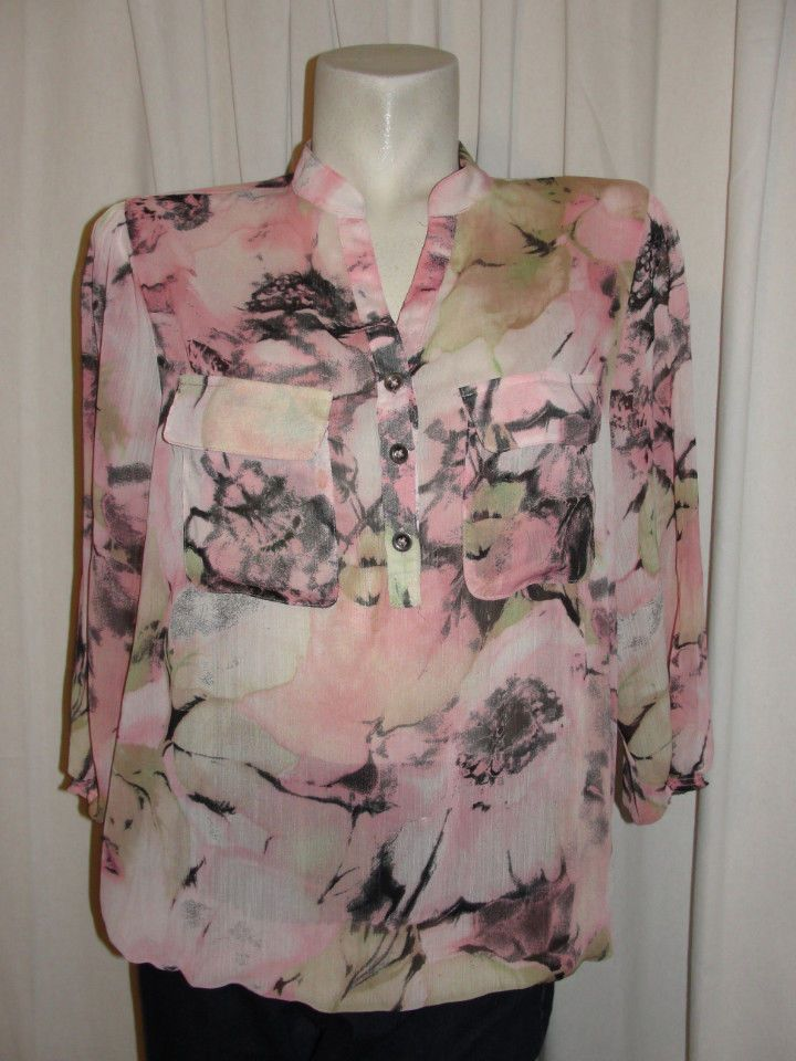 SUSAN GRAVER QVC Top Pink Black Brown Sheer Chiffon Vneck 3/4 Sleeve Blouse Sz L #SusanGraver #Blouse #Casual