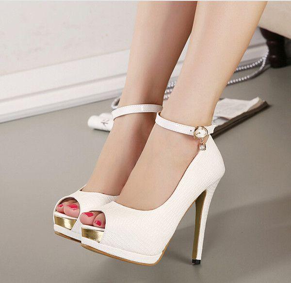 Caldo! Caviglia Elegante tacchi bianchi da sposa pompa i pattini delle donne…