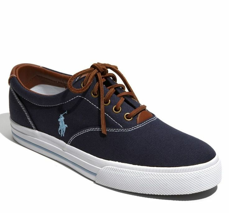 Ralph Lauren Vaughn Navy Mens Casual Suede Trainers