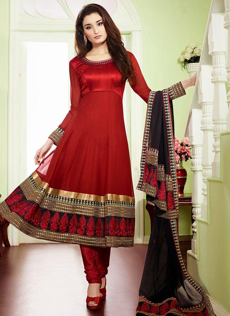 $90 Beautiful Red Georgette Anarkali Suit