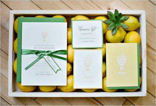 lemon wedding invites: Invitations Display, Escort Cards, Lemon Inspiration, God Lemon, Green Invitations, Invitations Design, Hot Air Balloons, Balloon Wedding, Lemon Lim