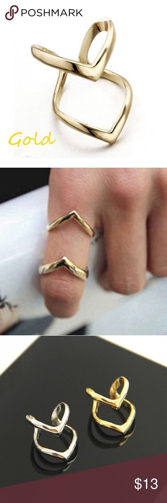 Gold Double V Cuff Ring Size 6 Midi Knuckle Gold Tone Double V Cuff Ring Size 6. Can also be worn as a midi First Knuckle ring. Very hot item! Silver Tone also available. SAVE 10% when you Bundle 2 or more items & pay only ONE shipping fee! Classic Trends Jewelry Rings