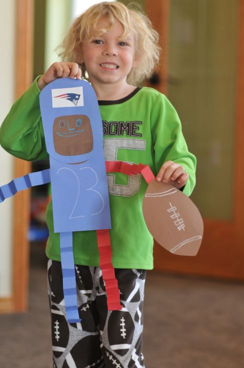 Football craft for your kids! Customize with your teams colors and logo