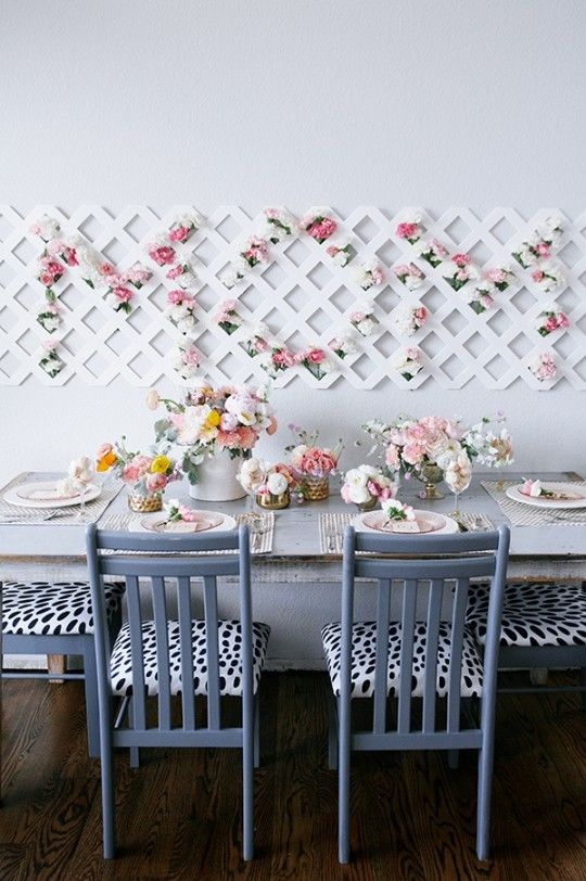Can you imagine this for your mother's day treat! Stunning DIY tutorial from theproperpinwheel.com...DIY // Mother's Day Tablescape with MOM Floral Backdrop