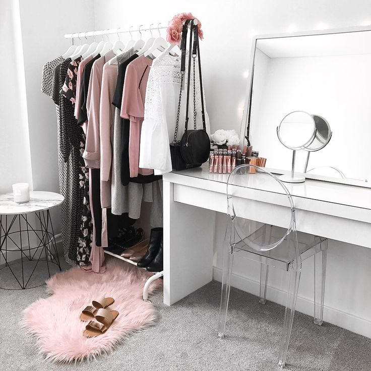 My dressing room / makeup vanity / wardrobe <3 Ikea malm dressing table, clothing rack + mirror, Kmart rug + side table, Target clear chair || Instagram: flipandstyle
