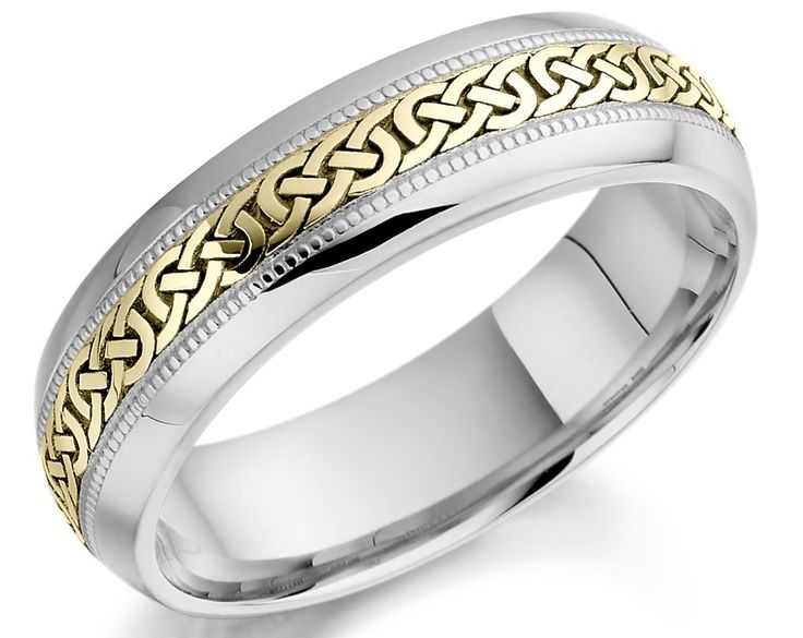 White And Yellow Gold Celtic Wedding Ring