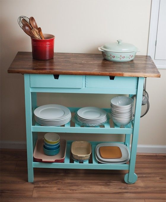 Forhoja Kitchen Cart instead of Norden Sideboard, vintage stain or paint, or both.