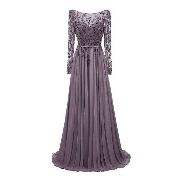 Dresstells® Long Jewel Prom Dress Beaded Sleeved Evening Party Gown:... (£125) ❤ liked on Polyvore featuring dresses, gowns, holiday party dresses, long evening dresses, purple prom dresses, long sleeve dress and evening party dresses