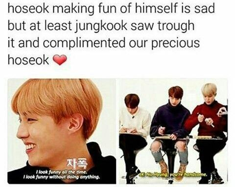 this is a problem!  I still remember when kookie teased Hobi about his looks in the past (in the way you would with your family). But after the anti-hoseok hashtags incidents no one jokes about it anymore because it really hurts Hobi. Those people(if you can even call them human) are cyber bullying and they feel no remorse about it! Please, Hobi, don't believe what the antis say! Believe that you are loved and that you are precious! Confidence confidence! Love you always, ColourMePastels